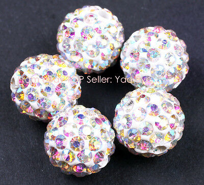 10mm Pave Rhinestone Crystal DIY Jewelry Making  Beads 10 Pcs Multicolors Pick