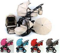 Baby Pram Buggy Pushchair Stroller Ecco Linen 3in1 + Car Seat+ Free Umbrella