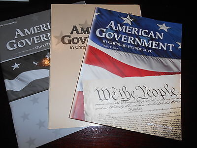 Abeka AMERICAN GOVERNMENT Text and Test Quizzes and Answer Key HOMESCHOOL grade 12
