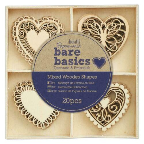 20 x Papermania Bare Basics 4 cm filigrane motif cœur pour artisanat scrapbooking