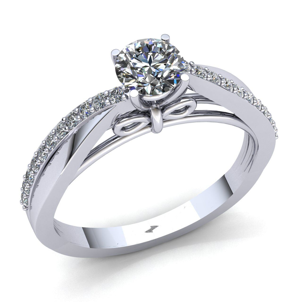 1ct Round  Diamond Ladies Accent Solitaire Engagement Ring 14K gold