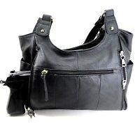 Leather Concealed Carry Gun Purse Ccw W/locking Zipper Concealment Purse Cwp