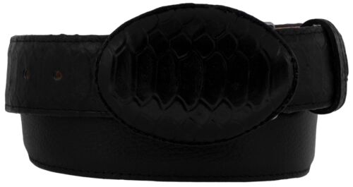 Mens Black Python Snake Pattern Overlay Leather Belt Cowboy Western Rodeo Buckle