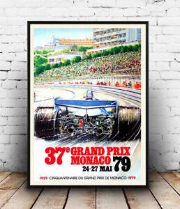 Vintage motor racing advertising  Poster reproduction. Grand prix Monaco