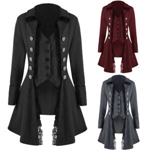 Retro-Victorian-Lady-Steampunk-Tailcoat-Gothic-Trench-Coat-Long-Lapel-Jacket