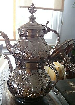 Traditional Turkish Handmade TEAPOT,Copper, Double Kettle,Caydanlik, Large