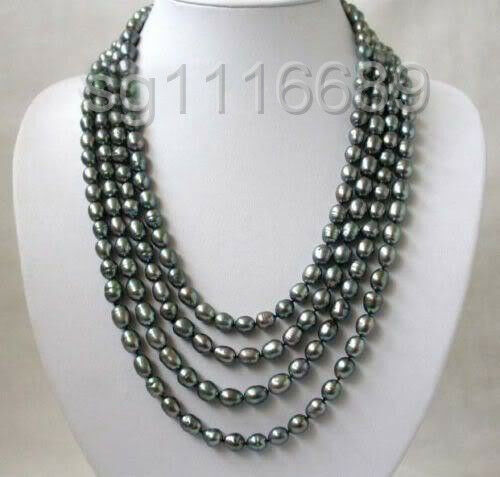Charming! 8-9 Black freshwater Cultured  Rice Pearl Necklace 80''