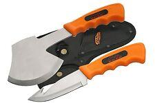 CAMPING KNIFE & AXE 2-Pc SET - Orange - Gut Hook & Hatchet - SHIPS FREE & FAST!