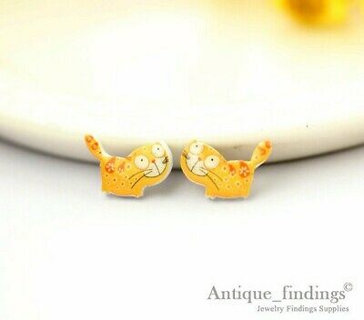 Earrings 4pcs Mini Cat Resin Charm Perfect For Stud Earring Rings Yed013p Strong Resistance To Heat And Hard Wearing