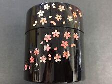 HAKOYA Japanese Tea Ceremony Tube Can Sakura Cherry Blossoms Red 56753 JAPAN