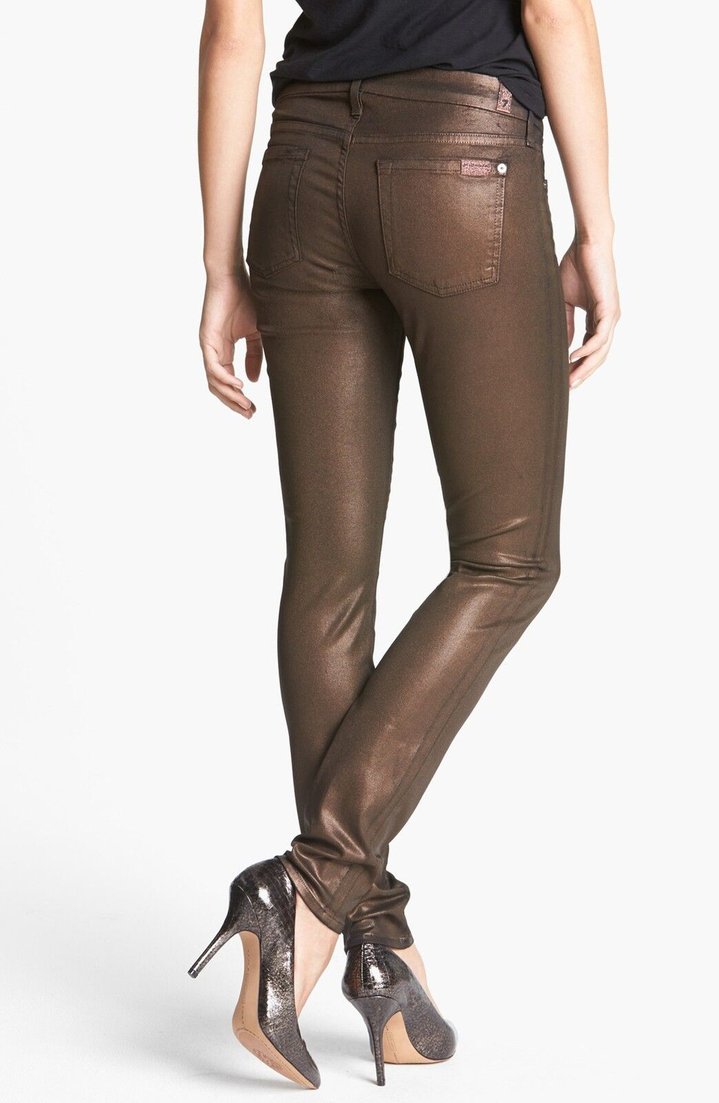 NWT 7 FOR ALL MANKIND Sz28 THE SKINNY-STRETCH HIGH GLOSS LEATHER LIIKE BROWN