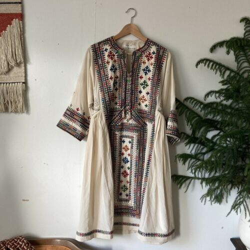Olivia Dar Anthropologie Boho Silk Hand Made Dress
