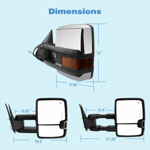 for 99-02 Chevy Silverado GMC Sierra Tow Mirrors Chrome Power Heated LED Signals