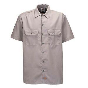 Dickies-Short-S-Work-Shirt-Silver-Grey-Arbeitshemd-Freizeithemd-Business-Grau