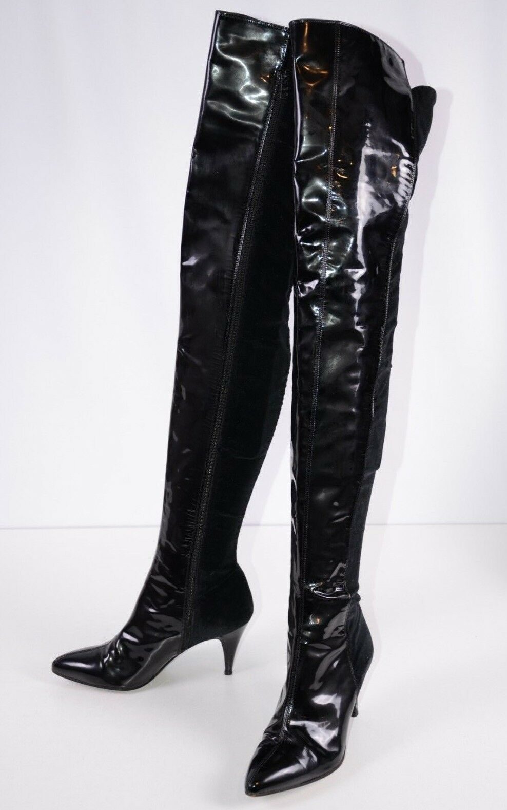 Gianni Versace damen Over Thigh High Stiefel 36.5  Side Zip Lacquerot 6.5 US
