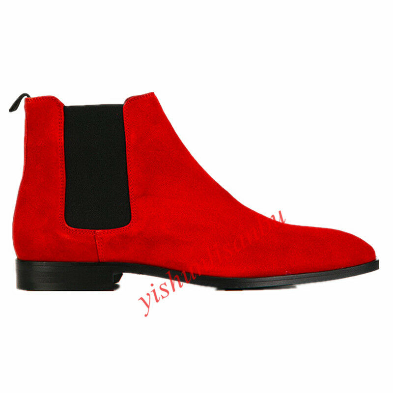 Cowboy Runway Mens Chelsea Pull on Elastic Suede Ankle Boot Roma Boot shoes Size