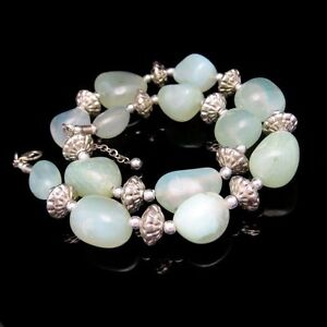 Chunky-Green-Translucent-Stone-Beads-Necklace-Vintage-Artisan-Made-Silver-Plated