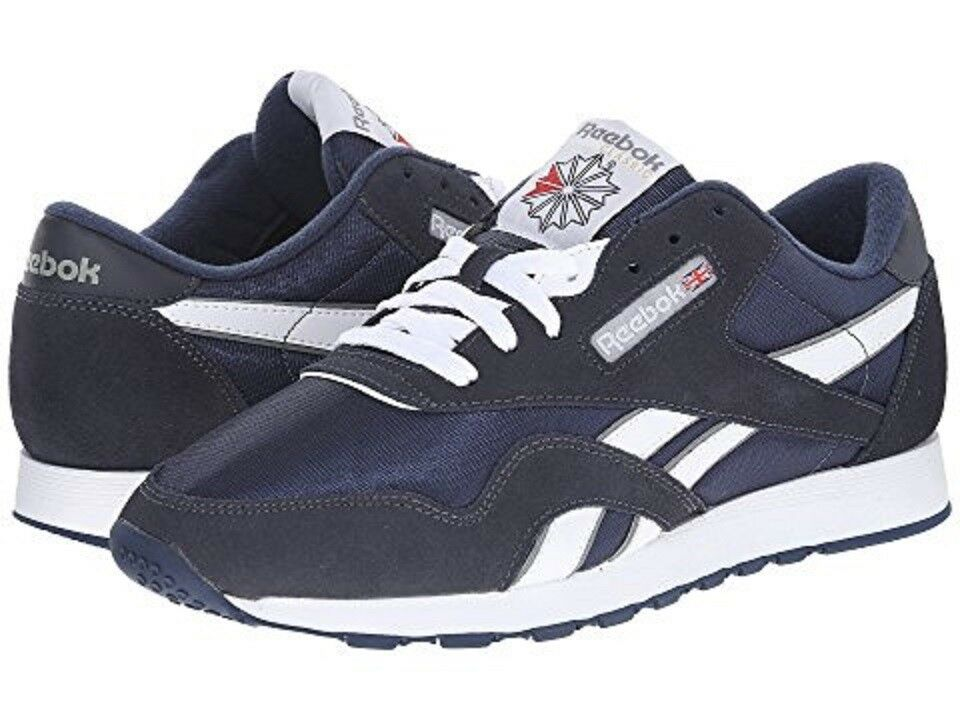 Scarpe casual da uomo REEBOK 39749 CL NYLON Mn's (M) Navy/Platinum Suede/Nylon Lifestyle Shoes