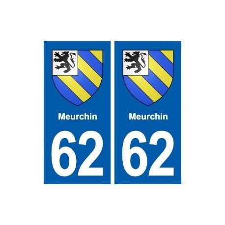 62 Meurchin blason autocollant plaque stickers ville -  Angles : droits