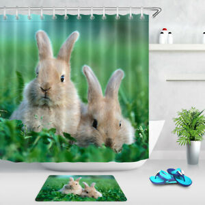 Easter Rabbits Bunny Spring Green Grass Shower Curtain Set ...