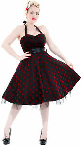 amp; Hearts Punkte Dots Roses Polka Kleid 50s Rockabilly Neckholder Flocked UwdwPgq