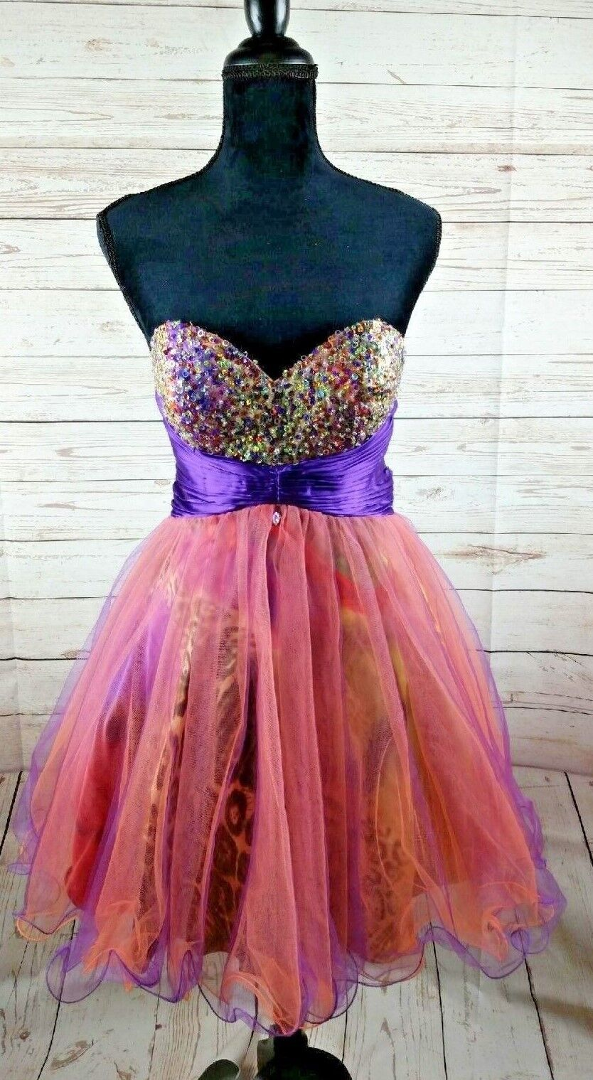 Riva Designs Purple Rainbow Cheetah Prom Strapless Dress Size 8 Beaded Formal