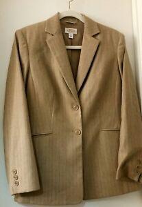 Talbots Tan Pantalone Taglia tuta 6 Light foderato Wool Pinstripe da azwqaxfrR