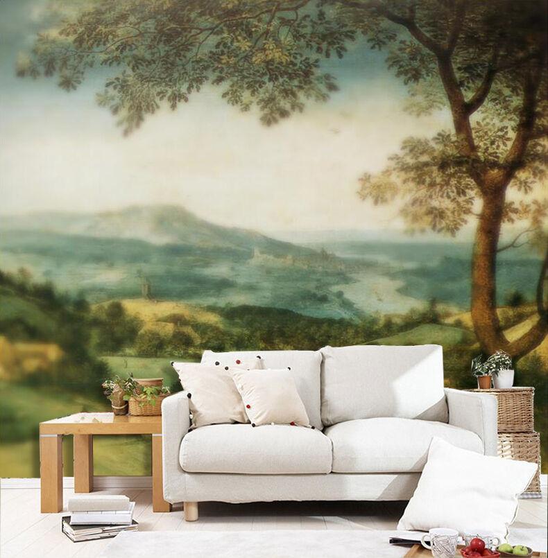 3D Hazy natural tree Wall Paper wall Print Decal Wall Deco Indoor wall Mural