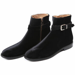 Black Side Suede High Leather Genuine Boots uomo uomos Handmade New Ankle Zipper xpwa0TqYR