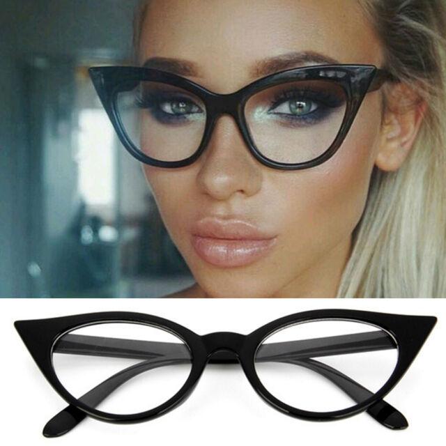 eac1bc4cd3b Womens 1960 s Retro Vintage Accent Cat eye Eyeglass frames Glasses Clear  Lenses