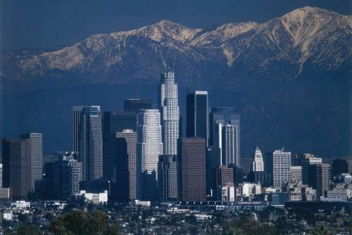 Los Angeles Downtown Skyline /& San Gabriel Mountains Photo 24x36 Poster Print
