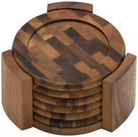 Lipper International Coasters, Acacia, Set Of 6, New, Free Shipping on sale