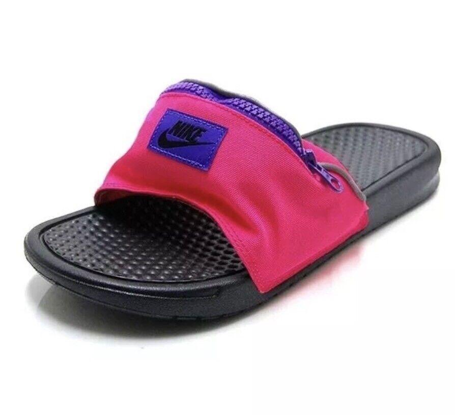 Nike Benassi JDI Fanny Pack Slides Hyper Punch Black UK 7