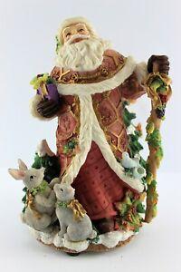 Macy's 'Snowy Woods Musical' German Style Santa Music Box w/Rabbits & Squirrels