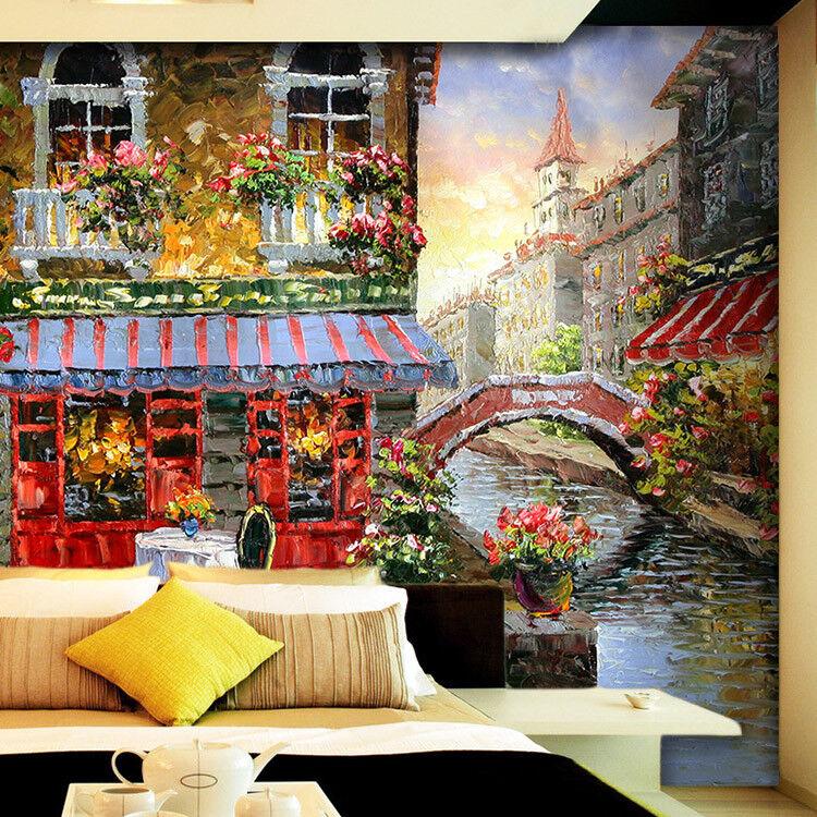3D Wasserstadt Ölgemälde 94 Tapete Wandgemälde Tapete Tapeten Bild Familie DE