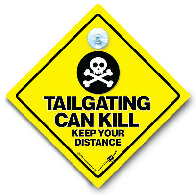 Keep A Safe Distance Car Sign Anti Tailgater Suction Cup Sign