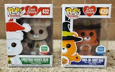 Funko Pop Care Bears Lot Christmas Wishes Bear 432 Trick Or Sweet Bear 420 889698349987 Ebay