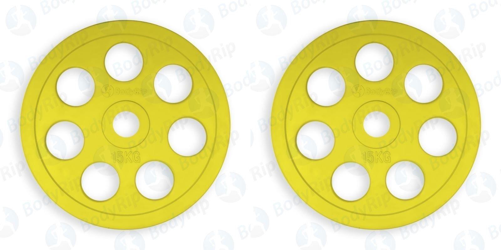 Olimpico Ghisa Peso Piatti Set Coppia 15kg │ 2  Disco Codice Coloreee By Bodyrip