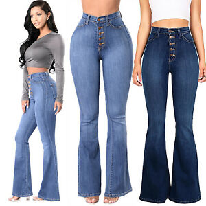 b96350b14d26 Image is loading Womens-Bell-Bottoms-Trousers-Ladies-Hippy-Denim-Flares-