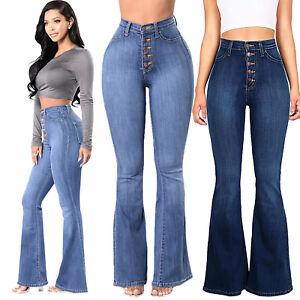 8fd17118d8f22 Womens High Waist Flared Bell Bottom Jeans Slim Fit Skinny Denim ...