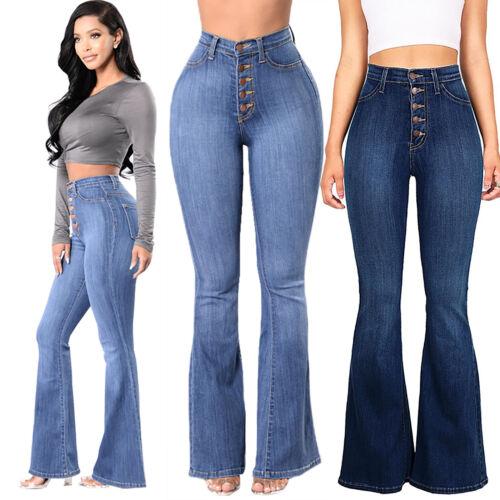 Ladies High Waist Flare Bell Bottom Boot Cut Jeans Denim Flared Wide Leg Pants