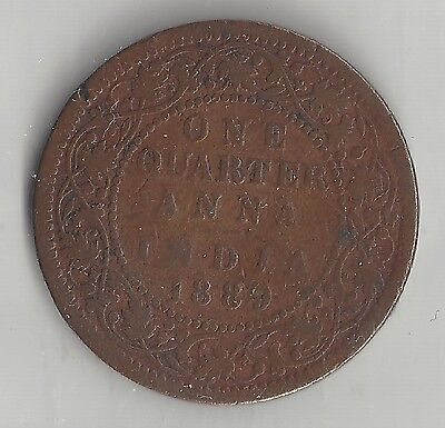 1/4 Anna Km#486 Refreshing And Beneficial To The Eyes Copper 1889 c Temperate India British