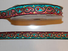 teal red crystal jacquard embroidered ribbon applique trimming decor Indian