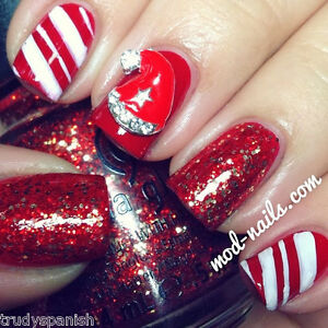 3D-Nail-Art-Metal-Christmas-Snowflakes-Tree-Bows-Stars-Rhinestones-5-PIECES-NEW