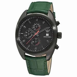 3d217411 Details about EMPORIO ARMANI SPORTIVO GREEN LEATHER BAND,BLACK TONE  CHRONOGRAPH WATCH AR5936
