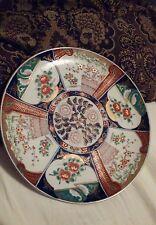 RARE Antique Japanese Imari Porcelain Plate Blue leaf back japan multicolored