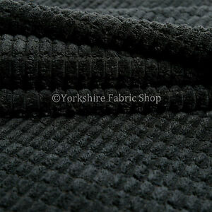 10-Meter-Roll-Of-Furnishing-Upholstery-Fabric-Brick-Effect-Pattern-Cord-In-Black