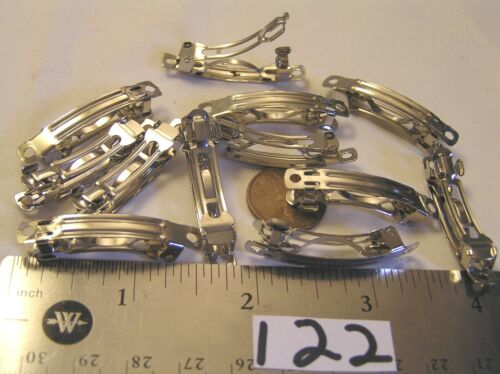 12 Hair Clip Barrette Jewelry Findings Silver holes for beads Lot wedding crafts