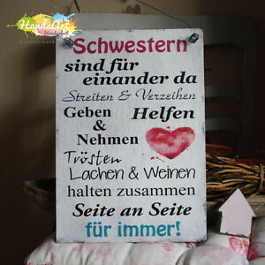 shabby style schwestern sind f r einander da holzschild geschenk deko handsart ebay. Black Bedroom Furniture Sets. Home Design Ideas