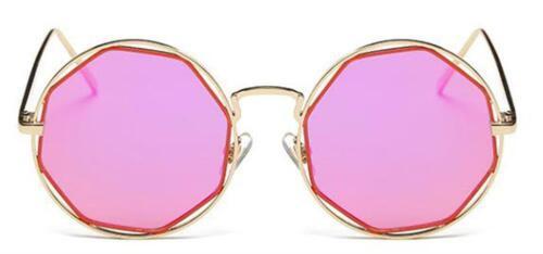 Sonnenbrille Round Resin Glasses Achteck Rand 400 UV Metall